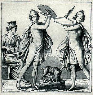 Corybantes protecting Zeus
