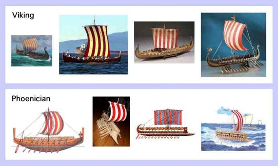 Viking and Phoenician ships